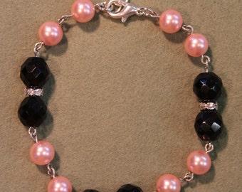 Pink Pearl and Black Crystal Bead Bracelet