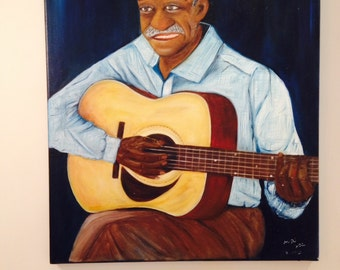 GUITAR PLAYER      for music lovers, special beautiful oil painting on canvas,one of a kind    NOW ******** Free Shipping**********