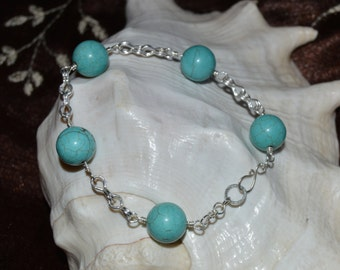 Handmade Turquoise Beads Fine Silver Chains Bracelet