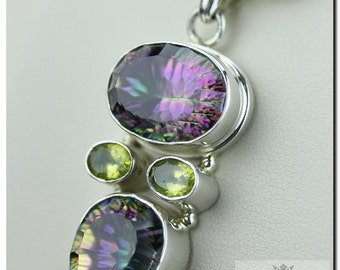 Mystic Topaz Peridot 925 SOLID Sterling Silver Pendant & 4mm Snake Chain + FREE Worldwide Shipping p830