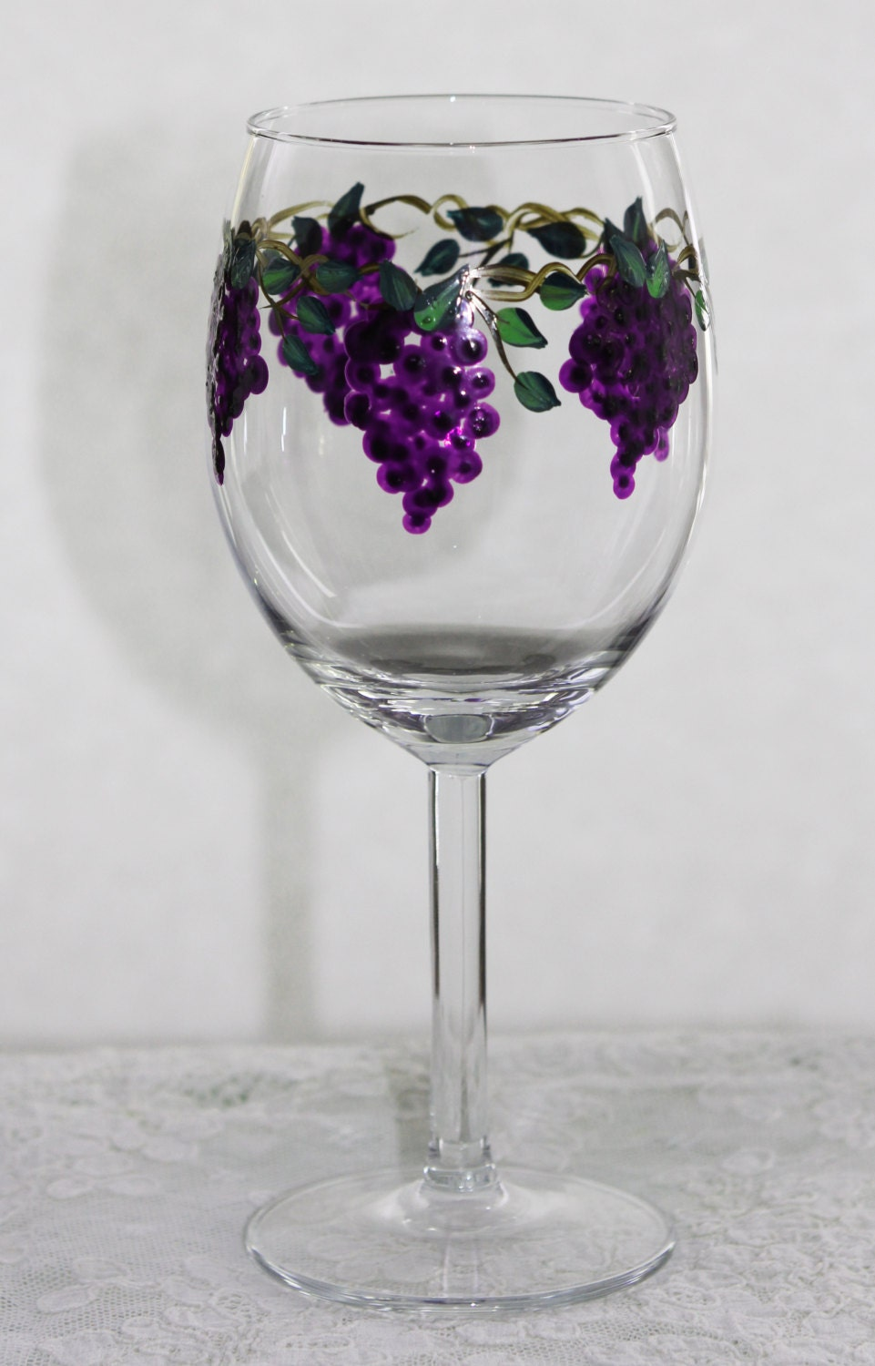 Hand painted wine glasses grapes by paintedsnowflakes on etsy for Hand painted glassware