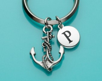 Anchor with Rope Keychain, Sailor Keychain, Nautical Charm, Initial Keychain, Personalized Keychain, Nautical Keychain, 7