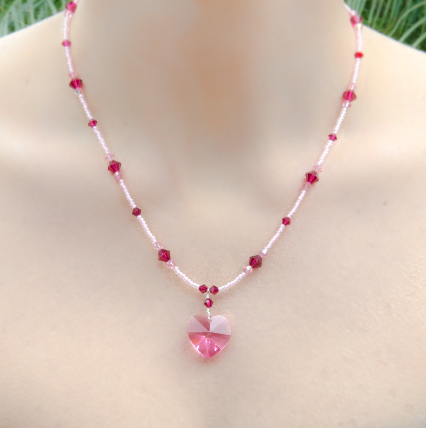 pink heart necklace heart pendant necklace with swarovski174