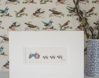 Sheep and Vintage Tractor Print, with woolly sheep & a Fordson tractor, hand finished with sheep's wool
