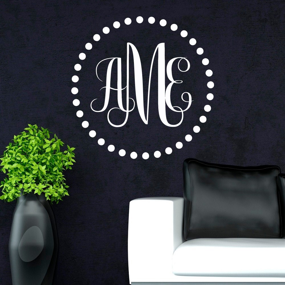 monogram wall decal personalized initial family wall decals. Black Bedroom Furniture Sets. Home Design Ideas