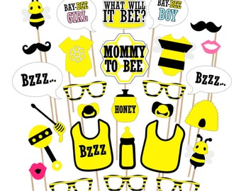 Bee Baby Shower Printable Photo Booth Props