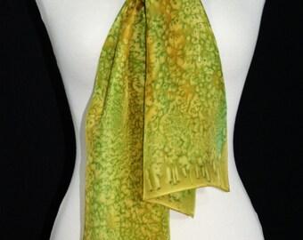 Olive Green, Golden terracotta Hand Painted Silk Shawl. Handmade Silk Scarf GOLDEN OLIVE, size 8x54. Birthday Gift, Bridesmaid Gift