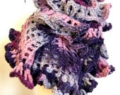 Knit Lace Shawl Wrap - Ravishing Ruffles - Purple Violet Lavender Gray Pink Crochet Luxury Wool - Holiday Gift