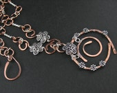 Forged Mixed Metals Copper Silver Wire Wrapped Chain Necklace, Mixed Metals Jewelry, Copper Silver Wire Wrapped Jewelry, Wired Mixed Metals
