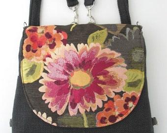 crossbody bag,  grey backpack messenger, shoulder tote bag, everyday purse, charcoal grey handbag, zipper bag, fits Ipad