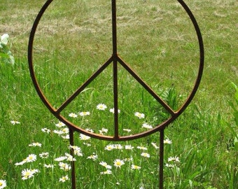 Peace Sign Rustic Garden Sculpture