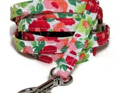 """XS Leash - Cheerful Floral Splash - 3/8"""" wide 4 or 6 feet Extra Small Leash for Dogs and Cats"""