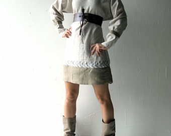 Linen dress, Boho dress, Medieval, Tunic dress, Blouse, long sleeve dress, Linen clothes, Chevron dress, Plus size dress, Shift dress, Larp