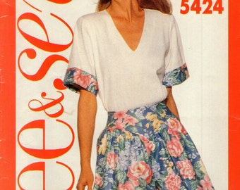 BUTTERICK 5424  Pullover Top and Culotte Full Shorts  SEE & SEW Sizes 6 8 10 12 14