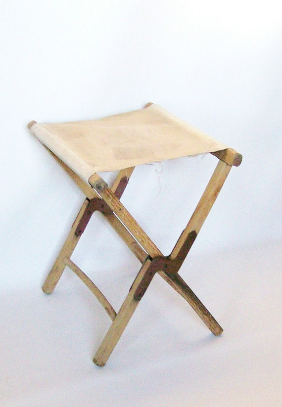 Vintage Sturdy Canvas Wood Stool WWII Army Surplus Cabin