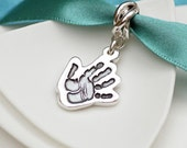 Personalised Silver Cutout Handprint Charm - baby print jewellery, mother's day gift, for Pandora,Chamilia,Trollbeads bracelets