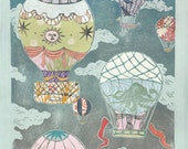 Hot Air Balloons XIV - Multimedia - Lino Block Print Historic Hot Air Balloons on Cloudy Sky with Collaged Japanese Papers & Ephemera