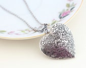 Large Heart Locket, Etched Locket, Silver Photo Locket, Pendant Necklace, Sterling Silver Chain, Romantic Necklace, Mothers Day
