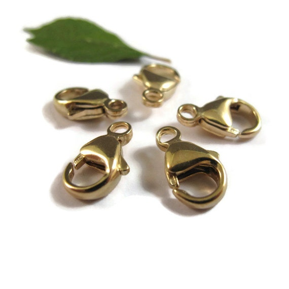 Five Gold Clasps, 14/20 Gold Filled Lobster Claw Clasps, 13mm, Set of 5 Large, Easy To Use, Strong Clasps for Jewelry Making (F 119f)