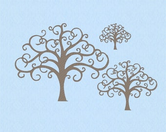 Tree with Curly Branches machine embroidery design file in three sizes
