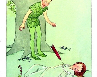 Peter Pan - Wendy Is Shot By An Arrow - 1957 Vintage Book Page - Illustrated by Marjorie Torrey