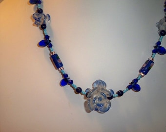 Blue Choker Necklace, Blue and White Flower Bead Necklace, Cobalt Crystal Bead Necklace with Blue Crystal  Dangles & Blue Glass Flower Beads