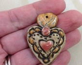 Fancy Sacred Heart Charm, Religious Clay Pendant, Jewelry Supplies, Charm, Mexican Folk Art, Jewelry Making, Focal Piece, Mosaic Supply
