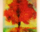 Autumn sunset, 16x20 inches, art, original, mixed media photograph, Fall decor, red decor, Michigan art, Colorful art, mixed media original