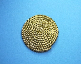 ON SALE MONET Vintage Large Textured Gold Spiral Rope Circle Brooch,  Unique Statement Piece!  #A713