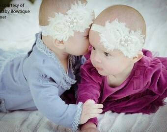 Baby Baptism Headband..Newborn Girl Headband.. Baby Christening Cream Headband..Cream Headband....Baby Headbands