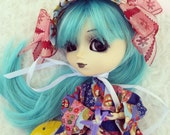 Doll Wig Size 8-9 Monique Trix SD BJD, Pullip, Blythe Modacrylic Fibers Red, Pink, Pastel Blue, Black Navy Blue