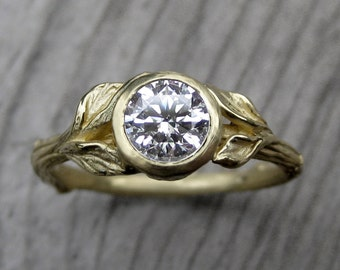 Moissanite Twig & Leaf Engagement Ring: White, Yellow, or Rose Gold; Recycled Gold; Forever Brilliant ™