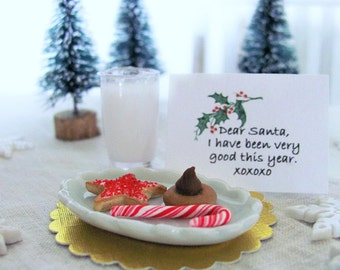 Miniature GOODIES for Santa on Oval Ceramic Plate with Tumbler of Milk & Note - 1:6 Scale Polymer Clay Food for Fashion Dolls and Figures