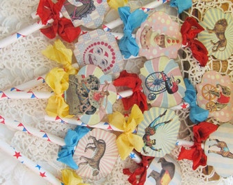 Vintage Carnival Circus Deluxe Cupcake Toppers - Set of 12 - Choose Ribbons - Circus Birthday Vintage Style