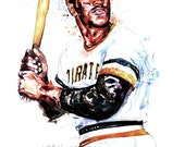 Watercolor portrait of Pittsburgh Baseball player Roberto Clemente - Giclee from original