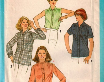 Vintage 70's Plus Size Sewing Pattern, Misses Shirt and Belt Pattern, Summer Top Pattern, Stand Up Collar Blouse, Sleeveless Top,Size 18 1/2