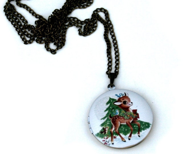 Deer Locket Necklace, Fawn Necklace, Woodland Jewelry, Christmas Locket