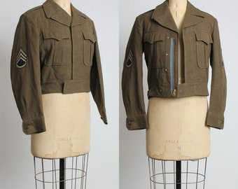 SALE- 1950s US Cavalry Jacket with Patches.  Mid Century