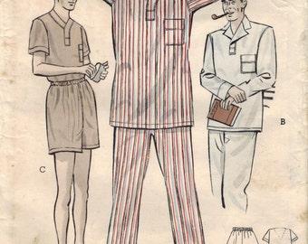 1950s Butterick 5546 Vintage Sewing Pattern Men's Long & Short Pajamas Size Small, Size Medium, Size Large