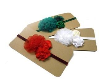 Glitter Elastic Headbands red, green, white