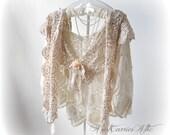 Crochet Shaw Mori Girl Shabby Chic Made from Vintage Wedding Shawl