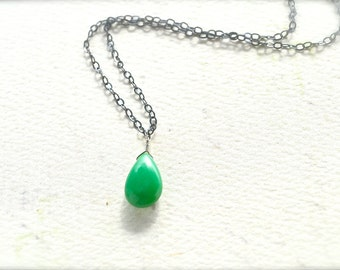 Soft Mint Necklace - mint green chrysoprase necklace, chrysoprase necklace, oxidized silver black and green necklace, OS05