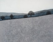 Intermission 4 - Archival 8x8 Art Print - Contemporary Minimalist Winter Landscape Painting - Grey, Blue, Slate - by Natasha Newton