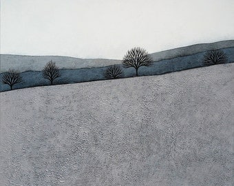PRE-ORDER - Intermission 4 - Archival 8x8 Art Print - Contemporary Minimalist Winter Landscape Painting - Grey, Blue - by Natasha Newton