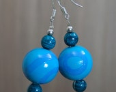 SALE! Large Hand-painted Wooden Bead Earrings - Teal - Emerald - Blue - Sterling Silver Hooks  -  Bright - Colourful - Fun - Varnished