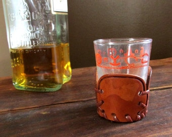 Bamco Rodeo shot glass - Leather jacket - Mid century - Libbey glass