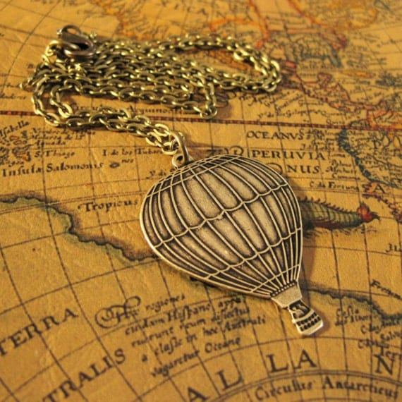 HOT AIR BALLOON Necklace  Balloons Necklace Vintage Brass Air Balloon Necklace Whimisical Jewelry Victorian Travel Balloon Jewelry Handmade