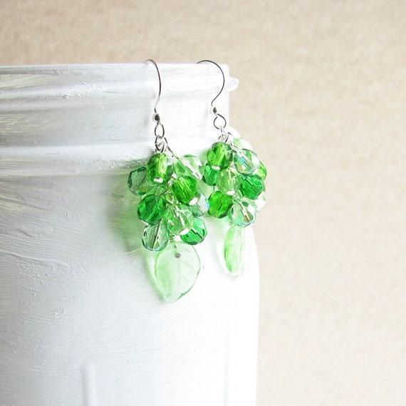 Green Cluster Earrings, Green Czech Glass Beaded Cluster Earrings, Silver Plated Hooks - Beaded Jewelry, Grass Green, Leaf Earrings
