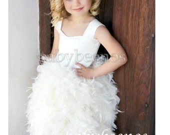 Feather Flower Girl Dress Flower girl dress feather, Flower girl dress corset back -LILY- Made to Order - pageant dress, satin dress,
