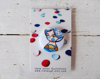 Summer girl pin, blue button brooch